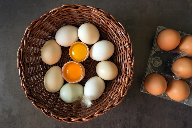 Fresh eggs in a wicker basket. concept of organic products.