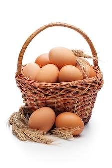 Свежие фермерские яйца в плетеной корзине с колосьями пшеницы, изолированные на белом пространстве