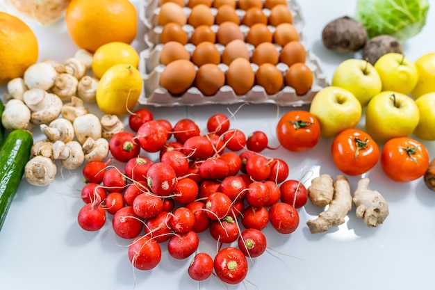 Fresh farmers market fruit and vegetable products. photo from above. dieting concept. healthy food concept. Premium Photo