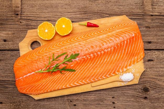 Fresh fillet of norwegian salmon.