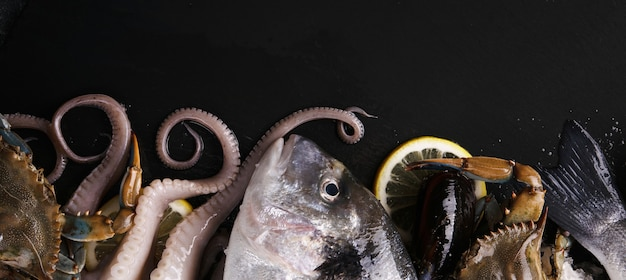 Fresh fish and seafood, healthy eating concept, top view, panoramic image
