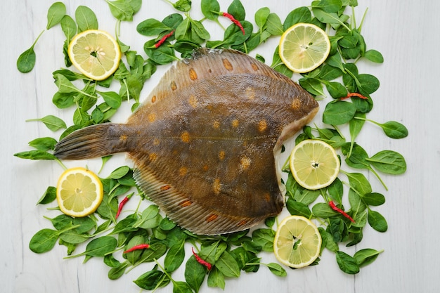 Fresh flounder without head top view