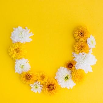Fresh flower arch on yellow background
