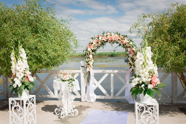 Fresh flower decorations for wedding ceremony