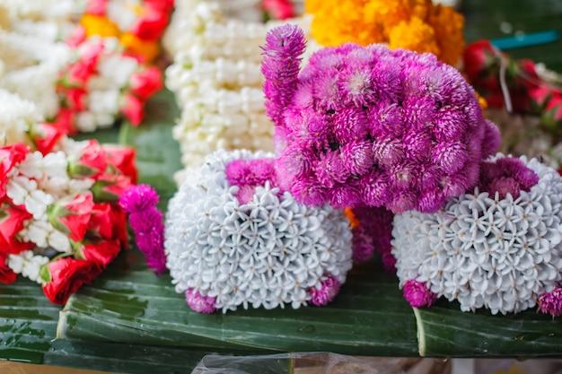 Fresh flower steering wheel at street market in thailand.
