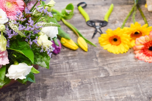 Fresh flowers on a gray