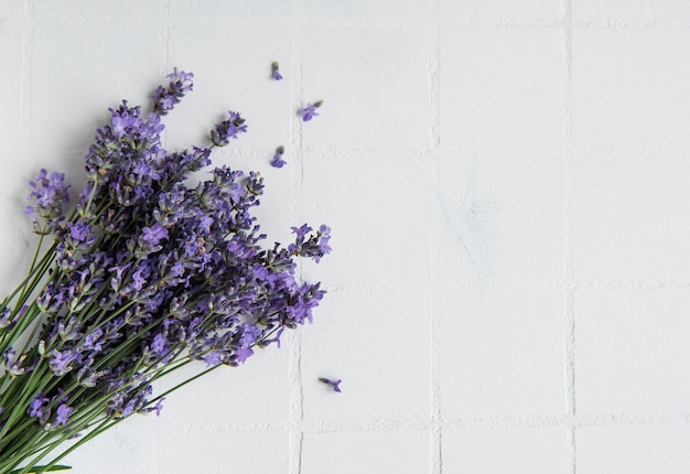 Fresh flowers of lavender bouquet, top view on white tile background