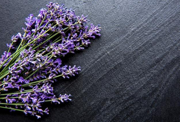 Букет свежих цветов лаванды на черной бетонной поверхности