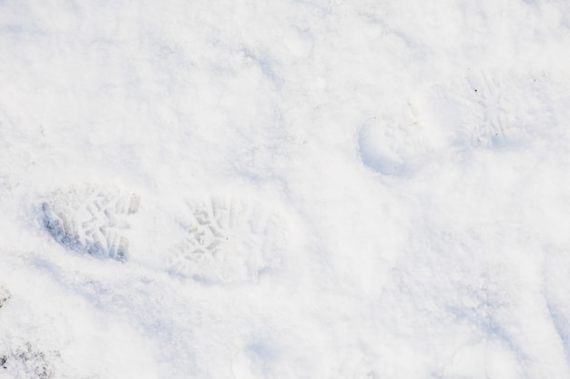 Fresh footprint on snow