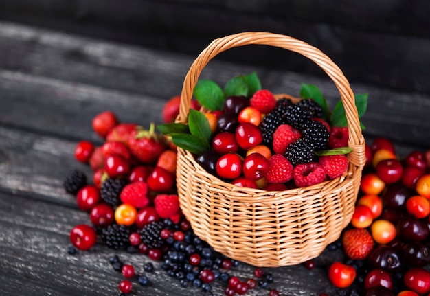 Fresh forest berries in basket