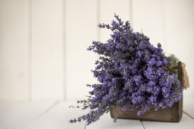 Fresh fragrant bouquet of lavender in a wooden basket on white.