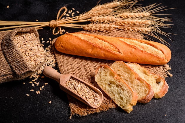 Fresh fragrant bread with grains and cones