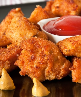 Fresh fragrant fried chicken nuggets