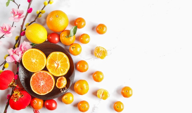 Fresh fruit background taken from top