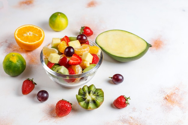 Fresh fruit and berry salad,healthy eating.