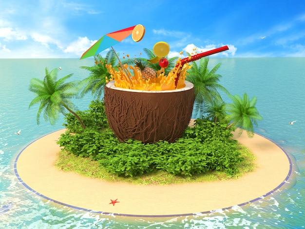 Свежий фруктовый коктейль на острове
