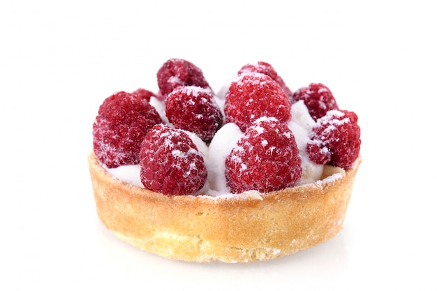 Fresh fruit raspberry tart on a white background. homemade raspberry pie on a white isolated background, close-up