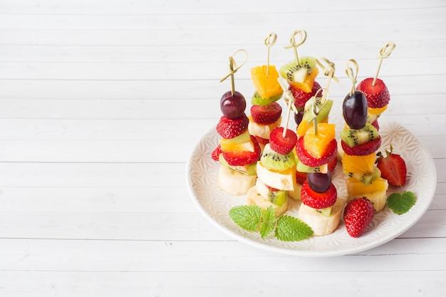Fresh fruit on skewers