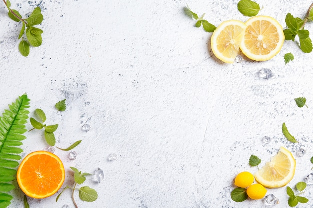 Fresh fruit on white