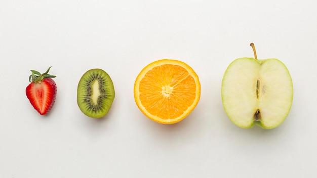 신선한 과일 배열 평평하다