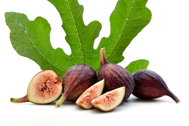 Fresh fruits of fig tree with leaves