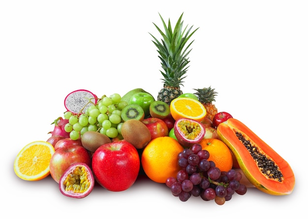 Fresh fruits isolated on white background with clipping path
