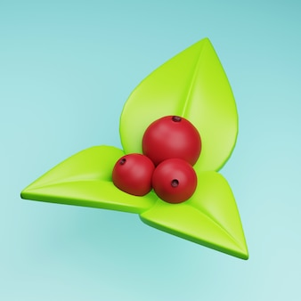 Свежие фрукты клюквы с зелеными листьями 3d иллюстрации