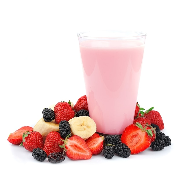 Fresh fruits and smoothies on white