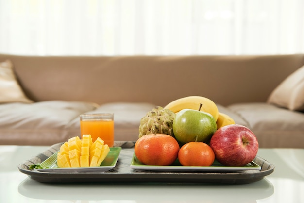 Fresh fruits on tray