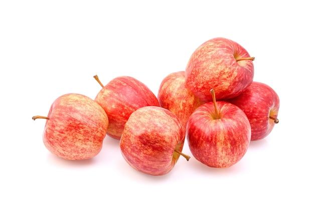 Fresh gala apples on white background