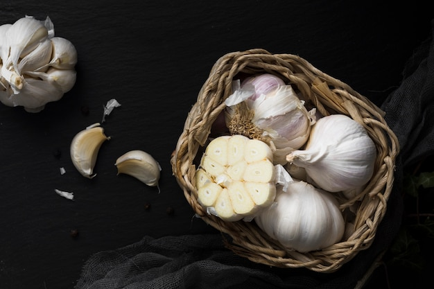 Fresh garlic in basket top view