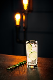 Fresh gin tonic cocktail with rosemary and lime