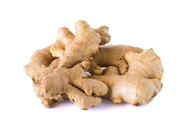 Fresh ginger isolated on white background.