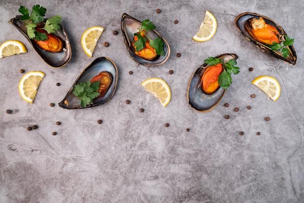 Fresh gourmet mussels flat lay