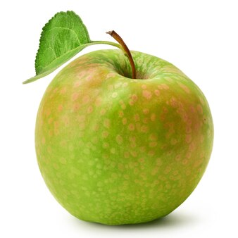 Fresh granny smith apple with green leaf isolated on a white background harvest this year