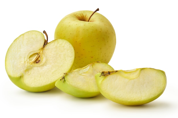 Fresh granny smith apple with green leaf isolated on a white background. a whole apple, half and two quarters.