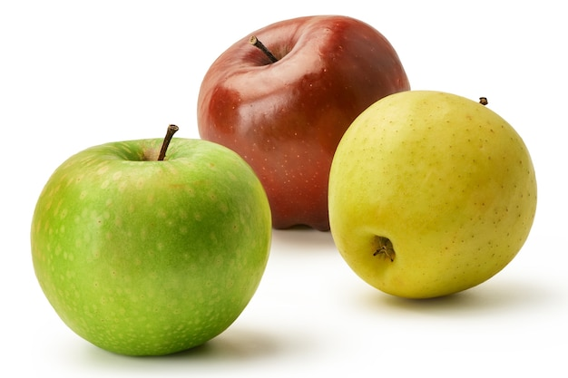 The fresh granny smith,  golden and red delicious apples are isolated on a white background. three whole apples.