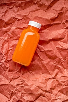Fresh grapefruit juice in ecofriendly recyclable plastic bottle and packaging healthy drink and food product concept