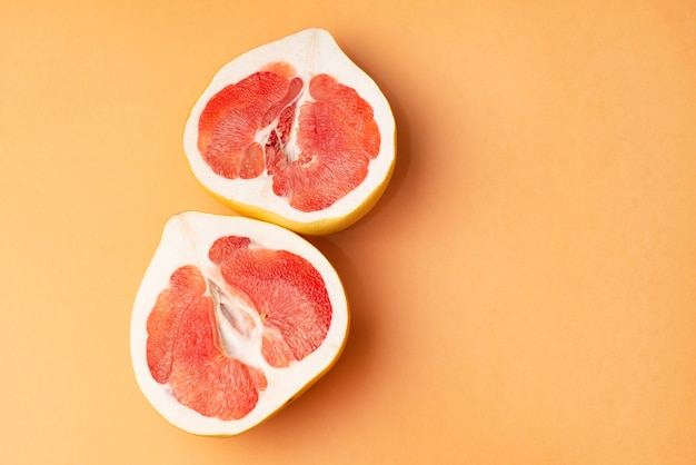 Fresh grapefruit on orange