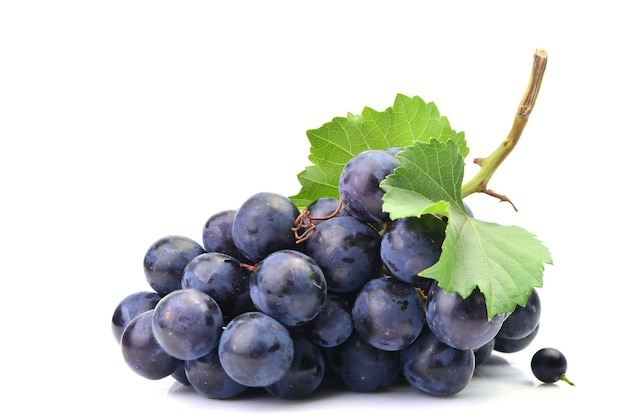 Fresh grapes on a white background