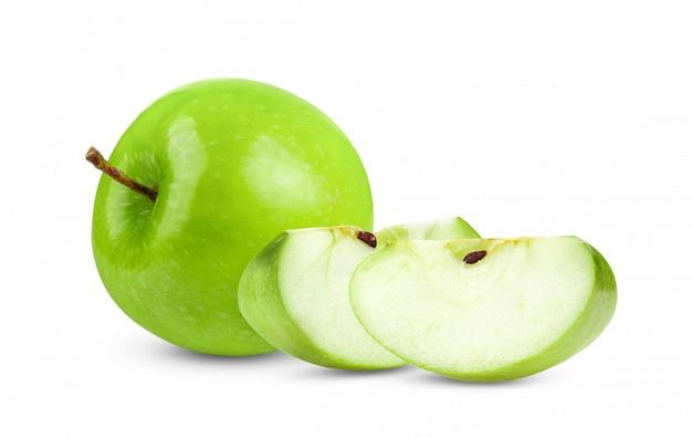 完全な被写し界深度で白で隔離される新鮮な青リンゴ