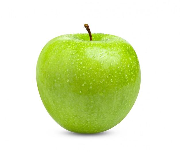 水滴で分離された新鮮な青リンゴ