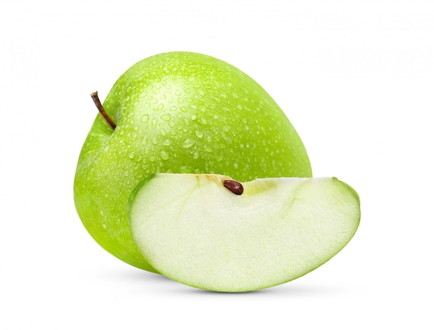 Fresh green apple isolated  with water drop