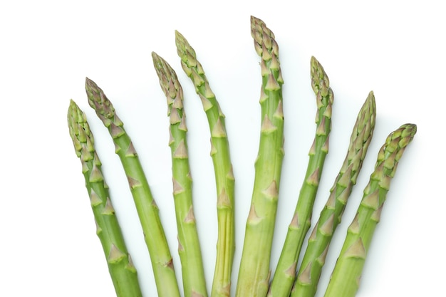 Fresh green asparagus isolated on white