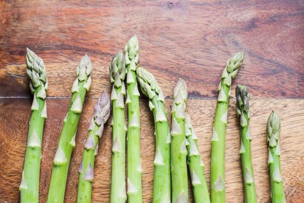Fresh green asparagus in row