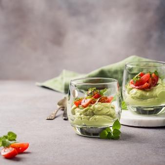 Fresh green avocado mousse