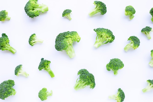 Fresh green broccoli on white