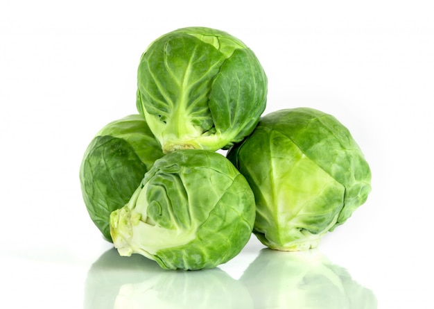 The fresh green brussel sprouts vegetable