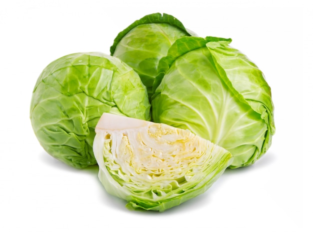 Fresh green cabbage vegetable isolated on white