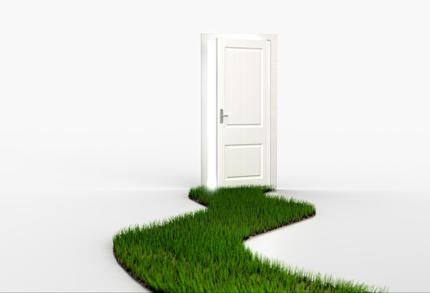 Fresh green grass path leading to open white door. 3d render